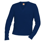 Sweaters-V-neck Pullover-Navy Embroidered
